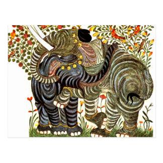 Affectionate, Decorated Elephants Postcard