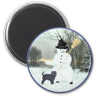 Affenpinscher and Snowman 6 Cm Round Magnet
