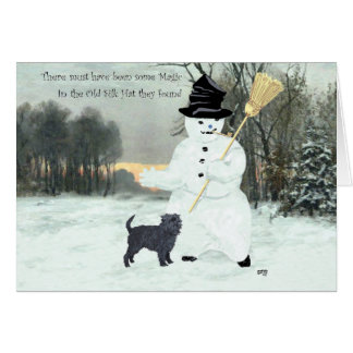 Affenpinscher and Snowman Card