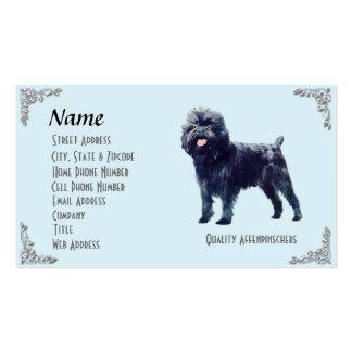 Affenpinscher Blue w/ Silver Corners Business Card