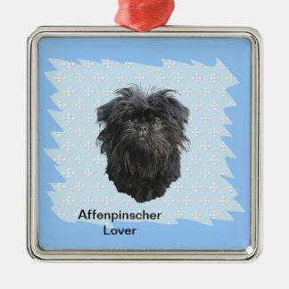 Affenpinscher Blue w/ White Diamonds Silver-Colored Square Decoration