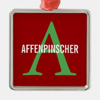 Affenpinscher Breed Monogram Design Silver-Colored Square Decoration