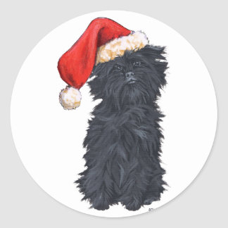 Affenpinscher Christmas Round Sticker