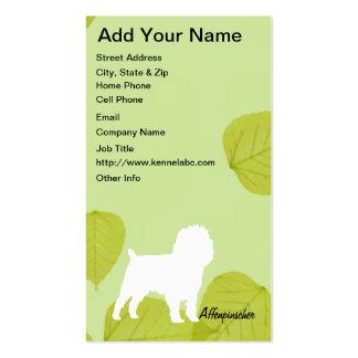 Affenpinscher Green Leaves Design Business Card Templates