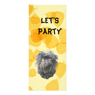 Affenpinscher on Gold Leaves Invites