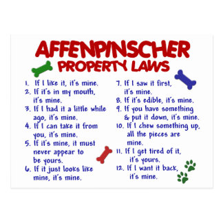AFFENPINSCHER Property Laws 2 Postcard