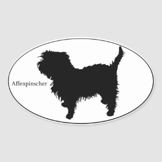 Affenpinscher SIlhouette Oval Sticker
