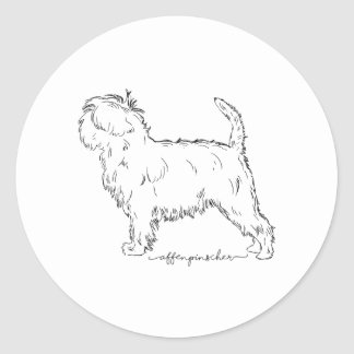 Affenpinscher sketch round sticker