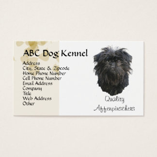 Affenpinscher Tan Leaves Motiff Business Card