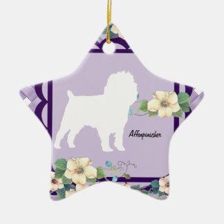 Affenpinscher Violet Floral Ceramic Star Decoration