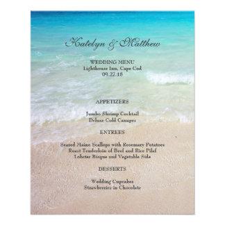 Affordable Ocean and Beach Wedding Menu 4x5 11.5 Cm X 14 Cm Flyer