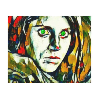 Afghan Girl With Green Eyes Abstract Oil Canvas Print