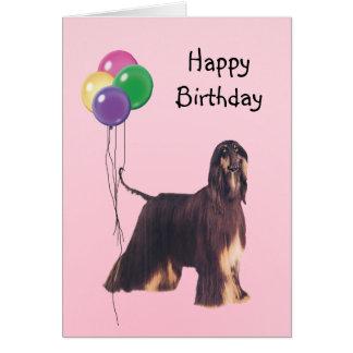 Afghan Hound, Birthday Balloons Card