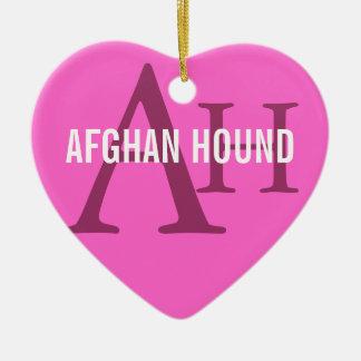Afghan Hound Breed Monogram Ceramic Heart Decoration