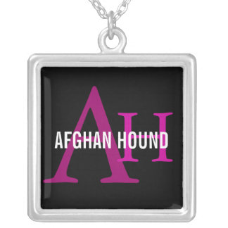 Afghan Hound Breed Monogram Square Pendant Necklace