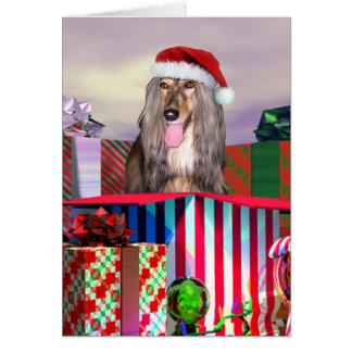 Afghan Hound Christmas Surprise Card