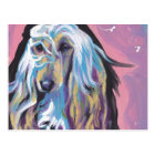 Afghan Hound colourful pop dog art Postcard