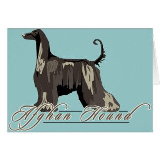 Afghan Hound, Detailed, Black Greeting Cards
