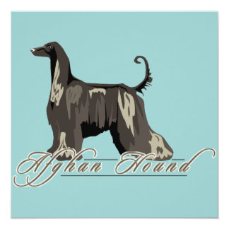 Afghan Hound, Detailed, Black Personalized Invite