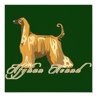Afghan Hound, Detailed, Gold Custom Invitations