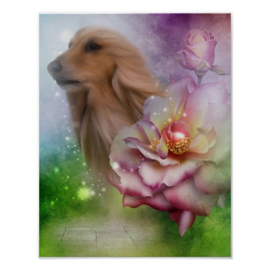 Afghan Hound Face Fantasy Flowers Dog Poster
