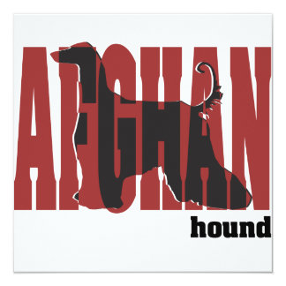 Afghan Hound Silhouette 13 Cm X 13 Cm Square Invitation Card