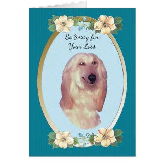 Afghan Hound, Teal Floral - Sympathy Card