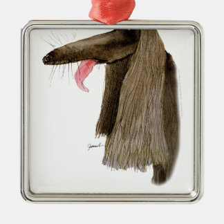 Afghan Hound, tony fernandes Silver-Colored Square Decoration