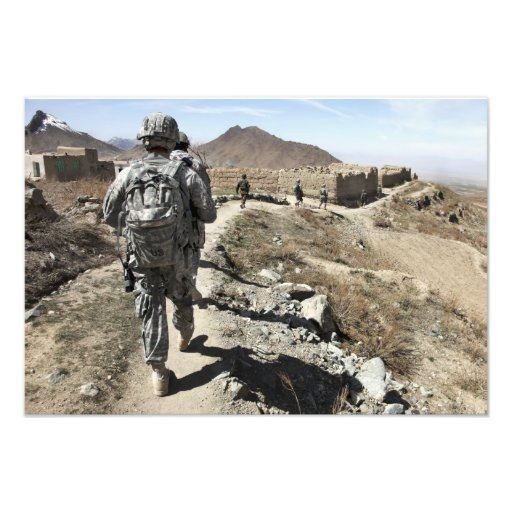 Afghan National Army and US soldiers Photographic Print