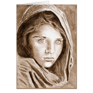 Afghan Refugee Girl, My Pencil Drawing 2004 Card