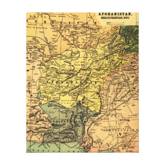 Afghanistan and Surrounding Countries Map Canvas Print