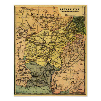 Afghanistan and Surrounding Countries Map Poster