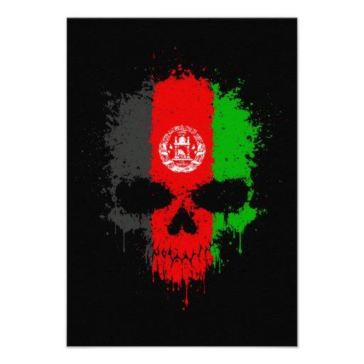 Afghanistan Dripping Splatter Skull Announcement