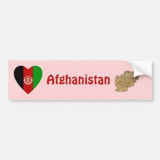 Afghanistan Flag Heart + Map Bumper Sticker