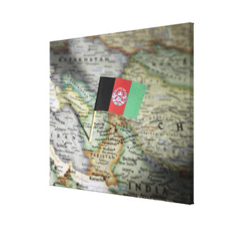 Afghanistan flag in map canvas print