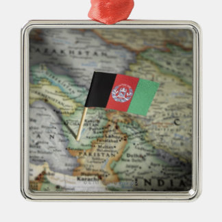 Afghanistan flag in map christmas ornament