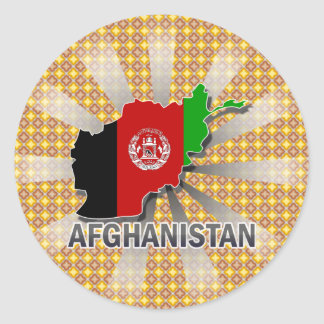 Afghanistan Flag Map 2.0 Round Sticker