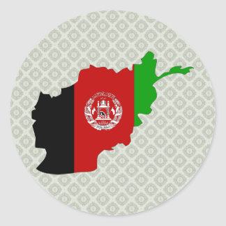 Afghanistan Flag Map full size Classic Round Sticker