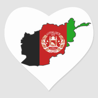 Afghanistan Flag Map Heart Sticker
