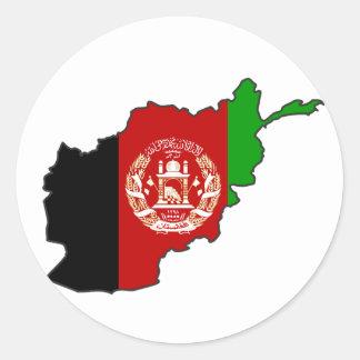 Afghanistan Flag Map Round Sticker