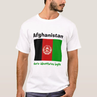 Afghanistan Flag + Map + Text T-Shirt