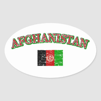 Afghanistan football design oval sticker