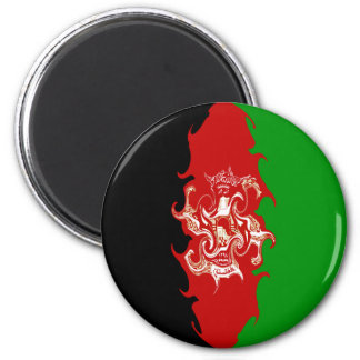 Afghanistan Gnarly Flag 6 Cm Round Magnet