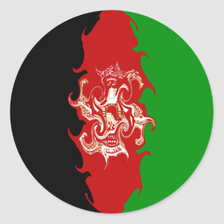 Afghanistan Gnarly Flag Round Sticker