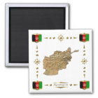 Afghanistan Map + Flags Magnet