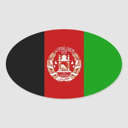 Afghanistan National Flag Oval Sticker