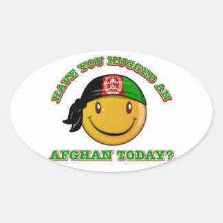 Afghanistan smiley flag designs oval sticker