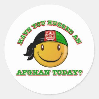 Afghanistan smiley flag designs round sticker