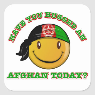 Afghanistan smiley flag designs square sticker
