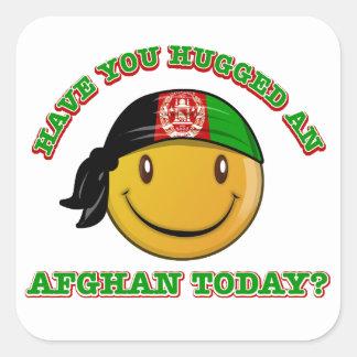 Afghanistan smiley flag designs square sticker